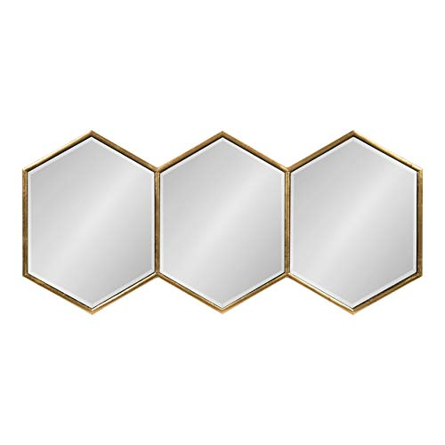 Kate and Laurel Royce Horizontal Hexagon Framed Mirror, 14x30, Gold