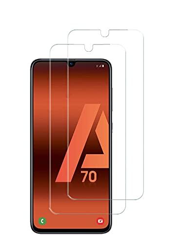 UNO' Protector pantalla 2 Unidades, Protector pantalla cristal templado compatible con Samsung Galaxy A70, Vidrio Templado Ultra Resistent Sin Burbujas, 9H, Antiarañazos, Apto Para Samsung Galaxy A70.