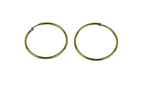 Pendientes de aro dorados con clip de 6.8 cm [3198]