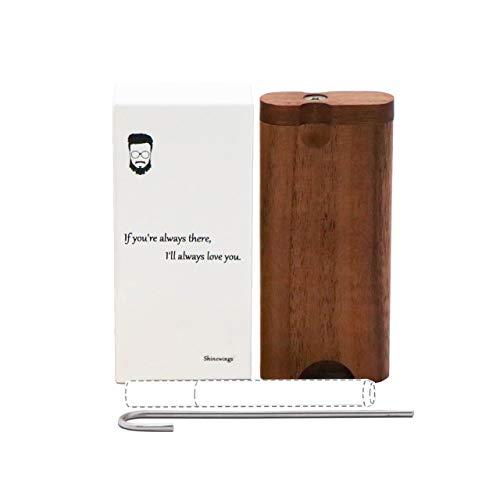 Black Walnut Wood Stash Box, Stash Box Kit with Metal Rod and Cleaning Tool, Portable Natural Wood Stash Box