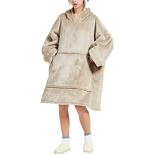 Sudadera con capucha de sherpa de gran tamaño, con capucha, súper suave, cálida, cómoda, con capucha, estilo escandinavo, talla única (Kaki)