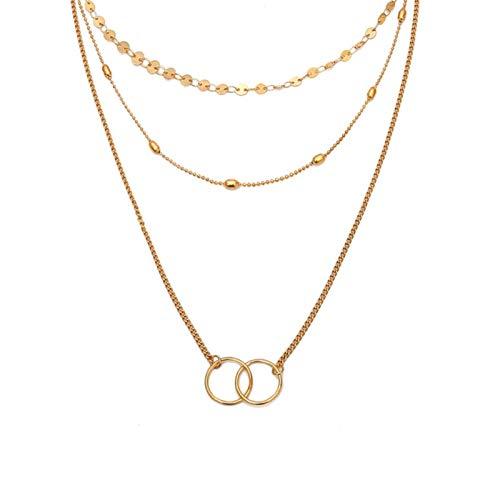 Collar Multi-Capa Luna Disco de Acero Inoxidable Borla Colgante Collar Femenino Collar de joyería