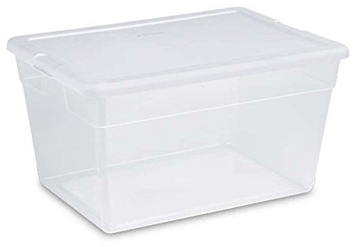 STERILITE 56 Quart Clear Storage Box See-through with White Lid (Pack Of 8)