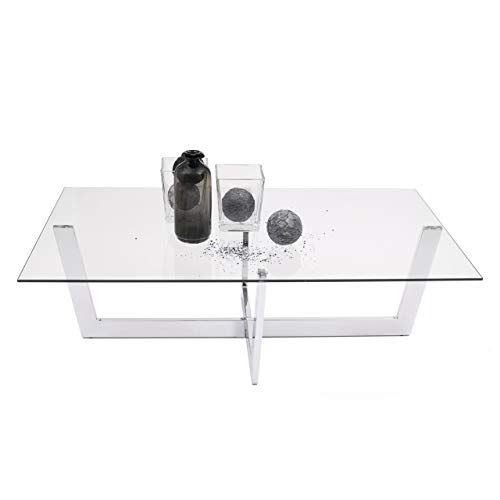 Homely Mesa de Centro ARAC Cristal Templado y Estructura de Acero Cromado 120x70 cm