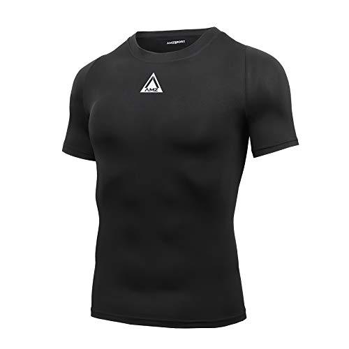 AMZSPORT Maglia Compressione Uomo, T-Shirt Manica Corta di Raffreddamento Maglietta Palestra Fitness, Nero, L