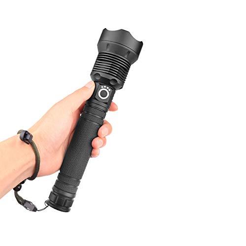 Lanterna de LED recarregável por USB, lanterna tática, zoom telescópico de 120.000 lúmens, lanterna de acampamento, impermeável, com 3 modos, tocha de alta potência com zoom ao ar livre