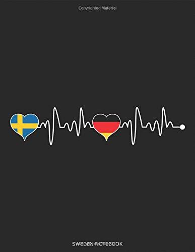 Sweden Germany Heartbeat - Schweden Deutschland Herzschlag: Land Fahne Gelb Blau Flagge Herz Notizbuch Reisetagebuch Urlaubstagebuch Abschiedsgeschenk ... Geschenk für DINA4 8,5x11 Zoll 117 Seiten