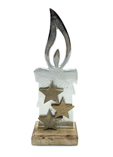 Formano Dekokerze aus Alu mit Holz Sternen auf Mango-Holz Fuß 11x30 cm
