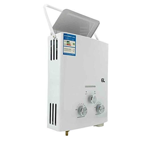 SUDEG 6L LPG Tragbarer Durchlauferhitzer Instant-Flow Propangas Durchlauferhitzer für den Außenbereich Campingdusche Haushaltsgasheizung mit Duschkopf für den Außenbereich