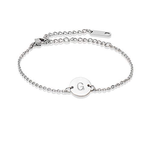 Stainless Steel Initial Bracelet Delicate Coin Letter G Bracelet Dainty Small Disc Name Bracelet Personalized Monogram Charm Bracelet for Women Girls