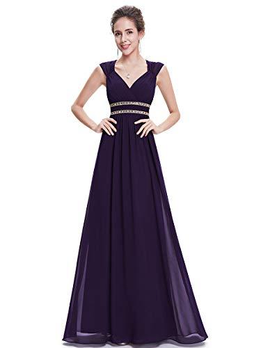 Ever-Pretty Damen Abendkleid A-Linie V Ausschnitt Abschlusskleid rückenfrei lang Dunkelviolett 50