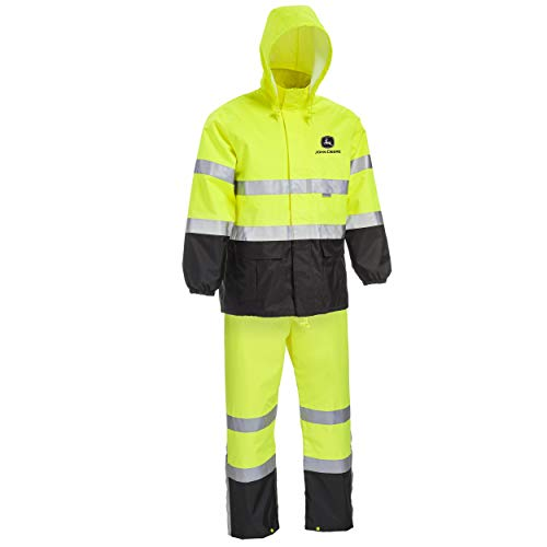 West Chester JD44530 John Deere High Visibility ANSI Class III Rain Suit Jacket and Bib with Color Block: Lime Green/Black, Large, 3M Reflective Tape, Reflective John Deere Logo