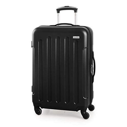 Suitline S3 - Valigia da viaggio di medie dimensioni, Trolley rigido in ABS, 4 ruote, 68 cm, 60 L, Nero