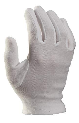 12 Paar Baumwollhandschuhe, Trikothandschuhe, Stoffhandschuhe weiß mit Schichteln - (12 / XXXL (Herren sehr groß)