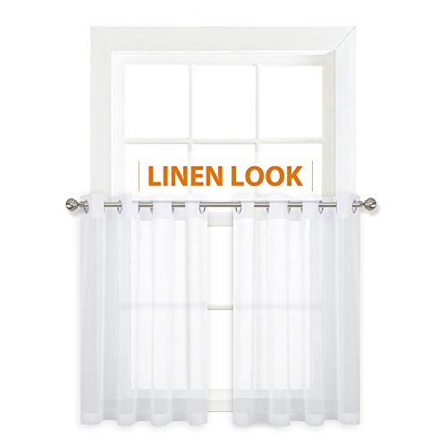 RYB HOME Linen Look Sheer Curtains for Kitchen, Privacy Grommet Small Curtain Set for Bathroom Voile for Half Window Drapes Cafe Panels, Wide 55 x Long 36 inch, 2 Panels