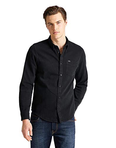 Lee Button Down, Camisa para Hombre, Negro (Black Jeans 01), Large