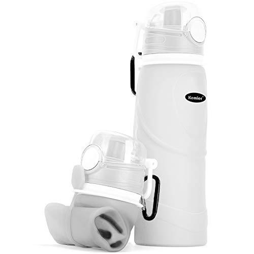 Kemier Botellas de Agua de Silicona Plegables–750ML,Calidad Médica Libre de BPA.Puede Enrollarse hasta 26 oz,Botellas de Agua Plegables a Prueba de Fugas para el Aire Libre y Deportes (Blanco)
