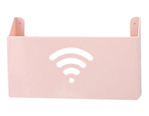 Drawihi Pâte Murale – Mounted Broadband Router Box Routeur Wireless Magazine Boîte de Rangement Boîte de Rangement, Plastique, Rosa, 26.5 * 6 * 16.5 cm