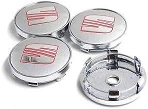Jeu de 4 cache-moyeux pour jantes en aluminium Seat 55/mm de diam/ètre 5F0601171 Chrome argent/é et noir avec logo