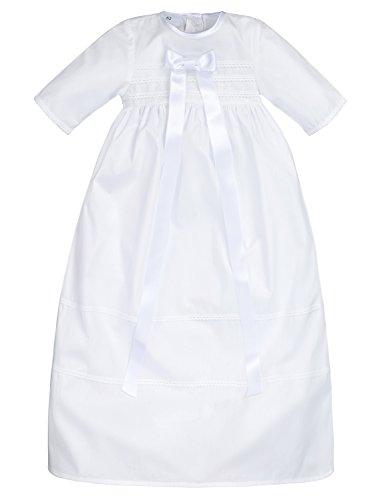 Bateo Design Robe de baptême Simon en coton avec nœud Blanc - Blanc - 9 mois