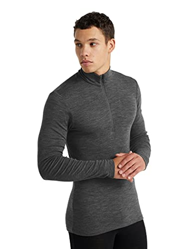 Icebreaker Merino 175 Everyday Long Sleeve Thermal Cold Weather Half Zip Base Layer Top Camiseta, Gritstone HTHR, M para Hombre