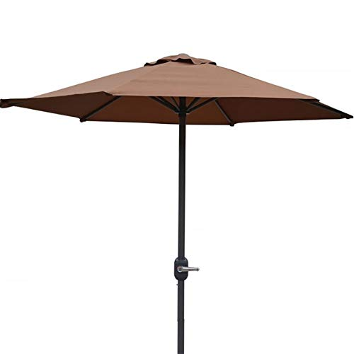 MMBBOD 200cm sombrillas terraza inclinable Parasol de Jardín, 2m Grande Sombrillas Patio con Manivela Protección Solar UV 50+, para Jardín Patio Playa Exterior (Color : Brown)