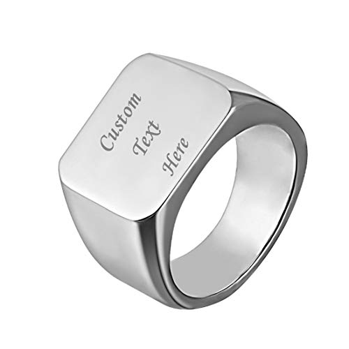 U7 Men Signet Ring Size 11 Personalized Biker Jewelry Gift Text/Symbol Customized Stainless Steel Cool Rings