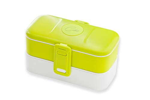 Cibò Bento Lunch Box – Porte déjeuner hermétique adaptée à micro-ondes et couverts en acier inoxydable – 1,2 l (Vert)