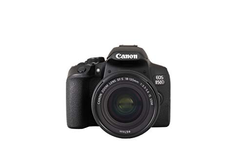 Canon EOS 850D DSLR Digitalkamera Gehäuse - mit Objektiv EF-S 18-135mm F3.5-5.6 IS USM (24,1 MP, 7,5 cm (3 Zoll) Display, APS-C Sensor, 45 AF-Kreuzsensoren, 4K, DIGIC 8, WLAN, Bluetooth) schwarz