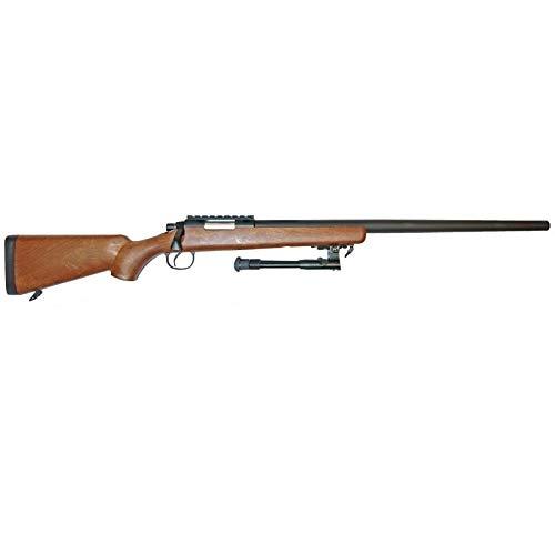 W E L L Fucile Softair A Molla Sniper VSR10 MB03 con BIPIEDE 0,9 Joule - MB03B (Nero/Wood)