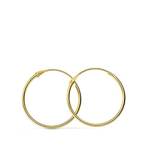 Pendientes oro amarillo Melisa Aros 16mm 18 Ktes