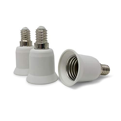 CROWN LED 3x Lampensockel Adapter Konverter weiß - E14 Fassung auf E27 Sockel Lampenadapter - Lampensockeladapter für LED Halogen Energiespar Lampen