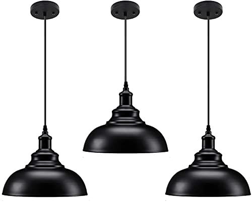 3 Pack Industrial Pendant Lighting, Matte Black Metal Barn Vintage Farmhouse Style Kitchen Hanging Light Fixture for Kitchen Dining Room