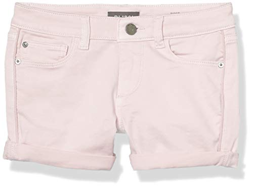 DL1961 Girls' Big Piper Rolled Cuff Short, Pink Cloud, 12