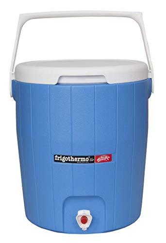 frigothermo Kühlbox mit Zapfhahn Wasserspender 18 Liter groß rund blau weiß passiv Kunststoff mit Tragegriff abnehmbarem Deckel bis 12 Stunden Kühlung Thermo-Behälter Getränkespender Wasserbehälter