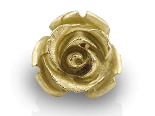 Mamma Bavaria - Ansteckpin Rose aus edlem galvanisiertem Metall (Gold Farben) - Rosen Anstecker für Tasche und Kleidung - Rosenpin als Accessoire für Damen und Herren - Anstecknadel Pin 17 mm