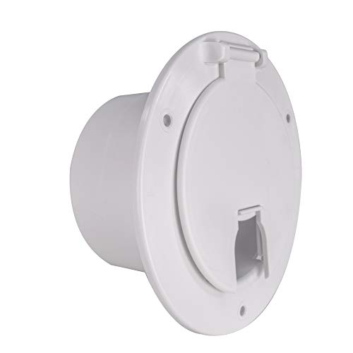 RecPro RV Camper Trailer Motorhome Power Cord Hatch/Cover (White) | Made in America