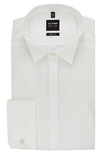 OLYMP Level 5 Body Fit Gala Hemd Popeline Stretch ohne Manschettenknopf- Gr. 42, Beige