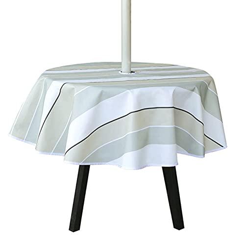 Crazyfly Tovaglia in tessuto Oxford, rotonda, 150 x 150 cm, rettangolare, 150 x 213 cm, tovaglia con foro per ombrelli e cerniera, impermeabile, per feste, patio, esterno