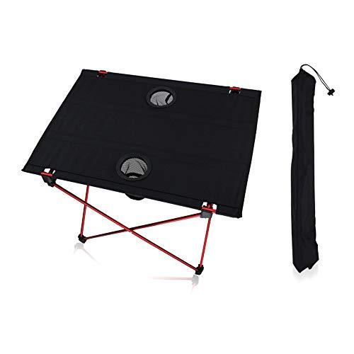 MIMI KING Outdoor Klapptisch mit Becherhalter Aluminiumlegierung Tragbare Tabelle Ultraleicht Doppel Oxford Camping Grill Picknicktisch