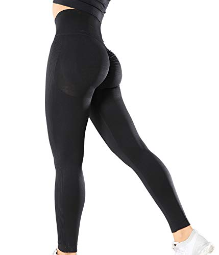 SLIMBELLE Damen Sport Leggings Po Push Up Yogahosen Hohe Taille Scrunch Boom Booty Fitness Yoga Leggins Pants Sexy Butt Lift Sporthose Fitnesshose Gym Tights Nahtlos Kompression Ruched Laufhose Lange