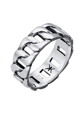 Kuzzoi Massiver Herrenring(8mm) im Panzer Design schwarz oxidiert, Bandring für Männer aus 925 Sterling Silber, Ring im Chunky Chain Look, Ringgröße 66, 0608382919_66