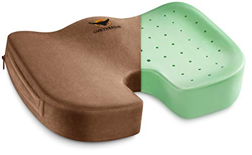Seat Cushion for Office Chair - OVEYNERSIN Comfortable Desk Chair Cushion - 100% Memory Foam Car Seat Cushion - Coccyx Orthopedic Pad - Relieves Back, Hip, Sciatica Pain Pillow for Sitting (Brown)