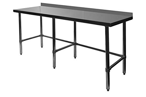 "ACE Equipment Open Base All Stainless Steel Commercial Work Table w/ 4"" Backsplash 30""W x 96""L x 35""H, ETL Certified, WT-PB3096B"