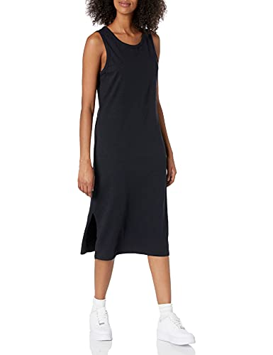 Daily Ritual Women's Lived-in Cotton Relaxed-Fit Muscle-Sleeve Midi Dress, Black, Medium