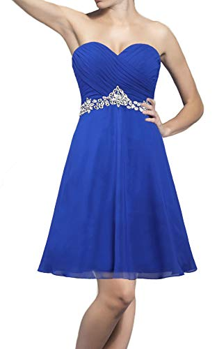 ANTS Strapless Crystals Chiffon Cocktail Dresses Short Evening Dress Size 4 US Royal Blue