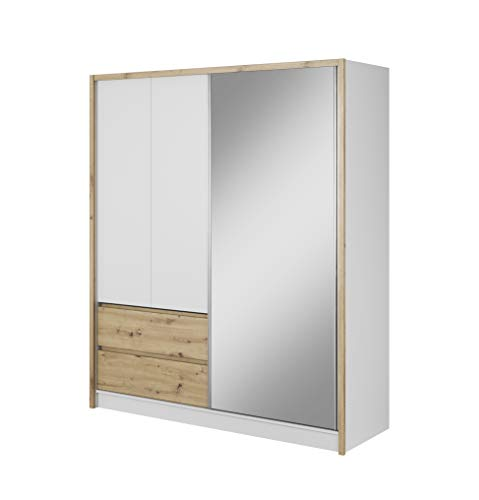 mb-moebel Moderne Schlafzimmer Möbel Eckschrank Kleiderschrank mit Schiebetüren Schubfächern und Spiegel Lucy (Weiss/Eiche Artisan, 180 cm)