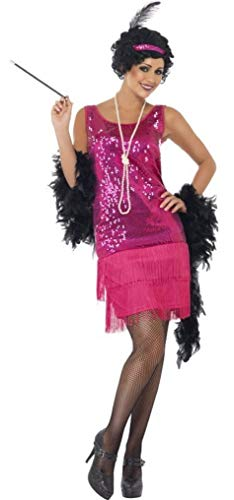 Femmes Fuchsia Sequin Années 1920 Charleston Gangster Enterrement Vie Jeune Fille Costume DÉGUISEMENT UK 8-22 Grande Taille - Rose, 8-10