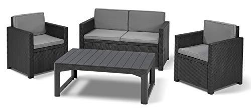 Koll Living Garden Lounge-Set Monaco mit Lyon Tisch, 4-TLG. Graphit, 2-Sitzer Sofa, 2 Sessel & höhenverstellbarer Tisch - ansprechende Sitzgruppe in naturgetreuer Rattanoptik