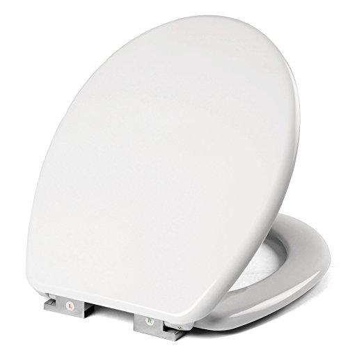 Toilettensitz WC Sitz mit Absenkautomatik, Duroplast, rostfreie Klappdübel, Toilettendeckel, softclose Scharnier